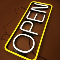 Hot selling fashion Worlddeco yellow and white led neno open sign light