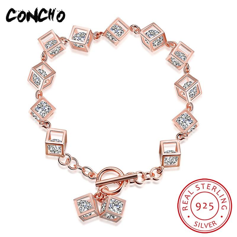 Concho Jewelry 925 Sterling Square Set Zircon Bracelet For Women Anniversary Best Gifts 2018 Hot Sale Limited Quantity Bracelet цена