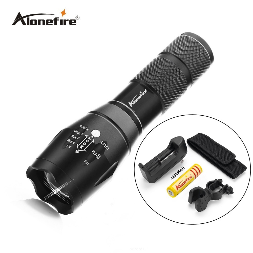 G700 led flashlight 2000 Lumen Zoomable CREE XML T6 LED 18650 Flashlight Focus Torch Zoom Lamp Light+battery+charger+mounts 2000 lumen 5 modes cree xml t6 led tactical lantern torch flashlight zoomable focus led hunting lamps 18650 rechargeable battery