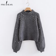 Pinky Is Black 2019 Pearl Beaded Loose Jumper Grey Crew Neck Lantern Sleeve Autumn Winter Women Sweaters and Pullovers Top