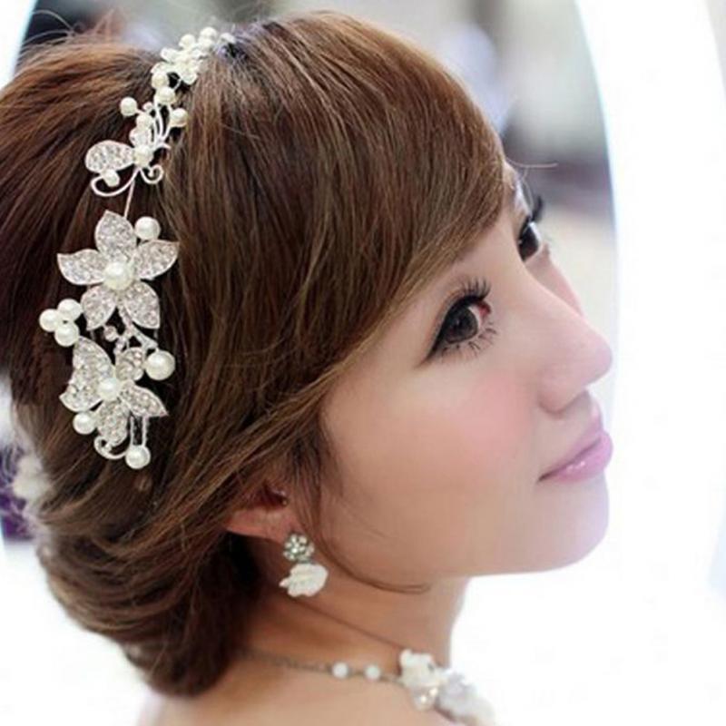 1pc Silver Crystal Rhinestone Pearl Headband Wedding Party