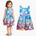 Alice no país das maravilhas meninas flores pirnted vestido com cinto vestidos infantis