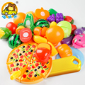 24 PCS New Colorful Kids Kitchen Toys Pizza Vegetable Fruit Food Pretend Role Play Learning Educational Safe Plastic Child Gifts