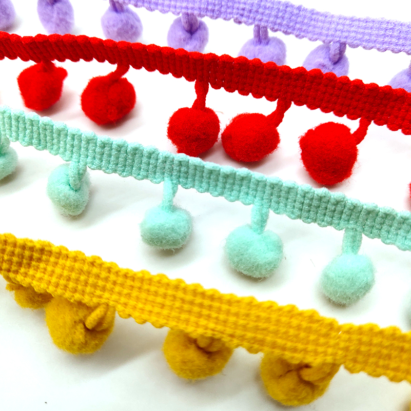 Beatiful 2 Yards Pom Pom Trim Ball 20MM MINI Pearl Pompom Fringe Ribbon Sewing Lace Kintted Fabric Handmade DIY Craft Accessorie