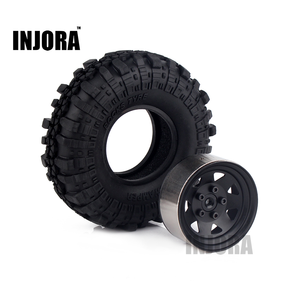 4PCS 1.9 Rubber Tyre & Black Metal Wheel Rim for  1:10 RC Crawler Axial SCX10 Tamiya CC01 RC4WD D90 D110 free shipping 4pcs lot 1 9 inch wheels tire tyre for rc car model crawler tamiya cc01 f350 rc 4wd axial scx10t etc