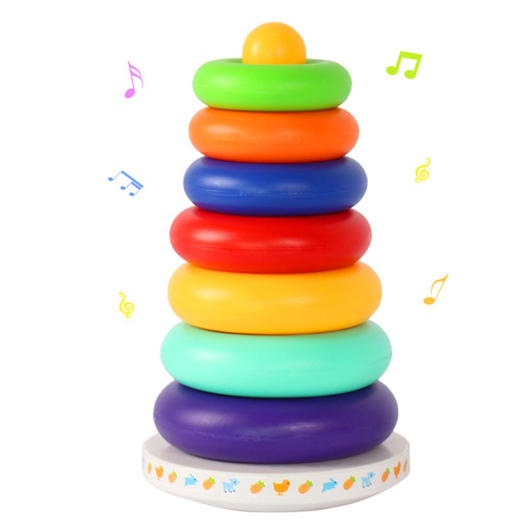 Music Rainbow Circle Tower Tumbler Layer Stacking Colorful Rings Pyramid Children Baby Stack Educational Game Toys