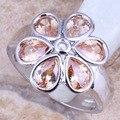 Glamorous Flor Champagne Morganite Prata Stamped 925 das Mulheres Tamanho do Anel 6/7/8/9 R1393