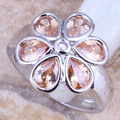 Glamorous Flower Champagne Morganite Silver Stamped 925 Women's  Ring Size 6 / 7 / 8 / 9  R1393