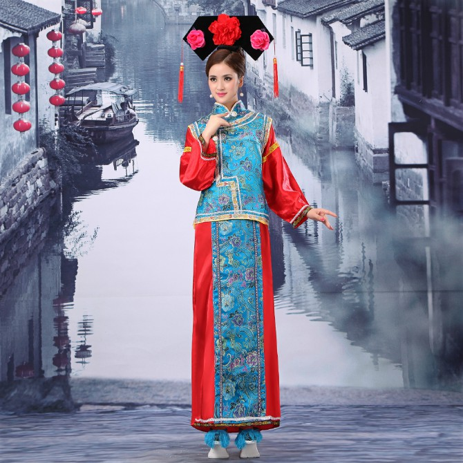 Kun god kvalitet Manchu kostume. Kvinde Dronning Butterfly Hot sale! Manchu prinsesse tøj af Qing-dynastiet ancien kostume ...