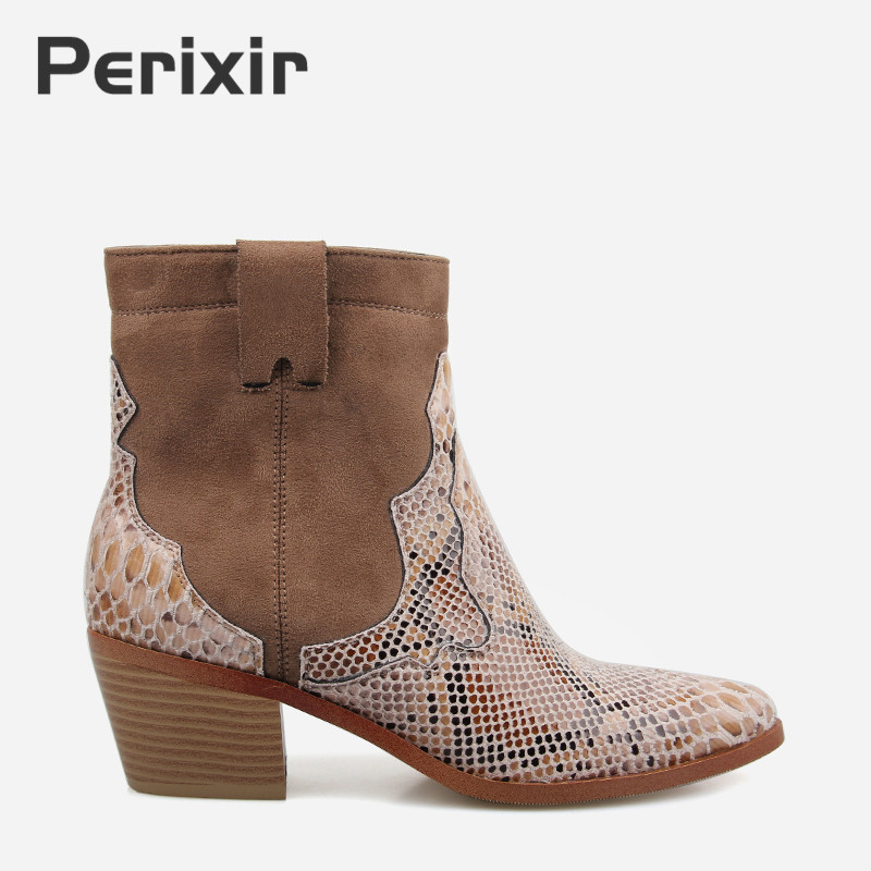 Women shoes Zipper Boots Snake Print Ankle Boots Square heel Fashion Pointed toe Ladies Sexy shoes 2019 Spring New Chelsea Boots