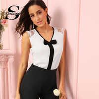 35c08789d39 Sheinside элегантная блуза с бантом и v-образным вырезом Женская Летняя  коллекция 2019 года без