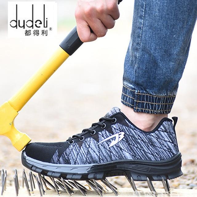 DUDELI brand steel toecap women men work & safety boots steel mid sole impact resistant soft male shoes plus size 39-48 RXM106