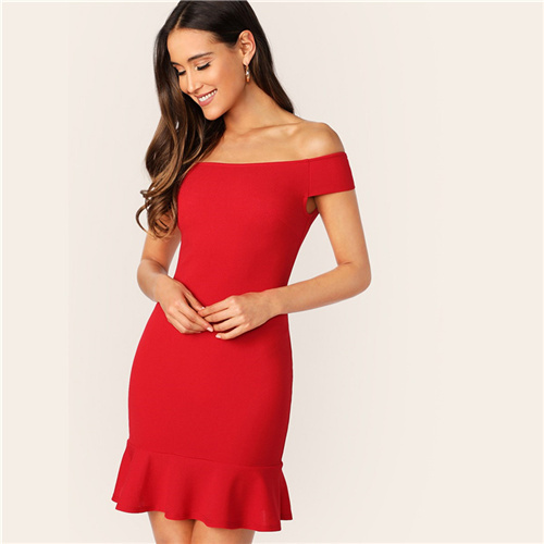 Red Off The Shoulder Zip...
