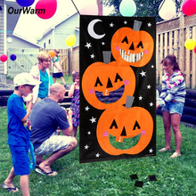 Ourwarm Pumpkin Hanging Toss Game with 3 Bean Bags for Adults Kids Funny Family Toys Halloween Party Decoration