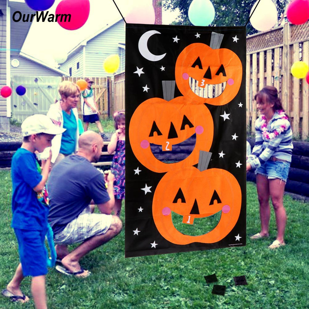 ourwarm pumpkin hanging toss game with 3 bean bags for adults kids halloween party decor funny halloween decoration props