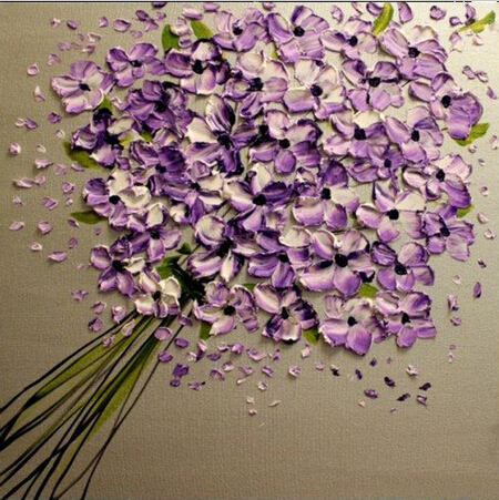 Free Shipping Painting Handmade Abstract Flower Purple Knife Flowers Oil Painting On Canvas Wall Pictures Living