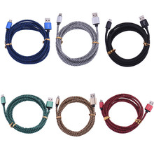 Micro USB Cable V8 Metal Braided nylon Mobile Phone Charging Cord 2.0 Data sync Charger Cable for Samsung galaxy Android Phones