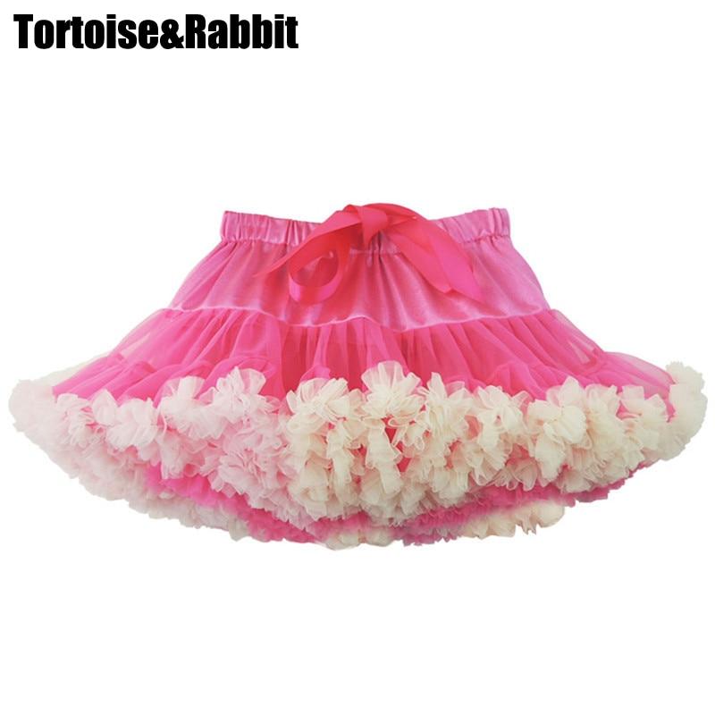 934b2ee9f Chicas esponjoso de 0-8 años Chiffon Tutu faldas de Color sólido Pettiskirt  bebé falda moda de Navidad enagua de tul