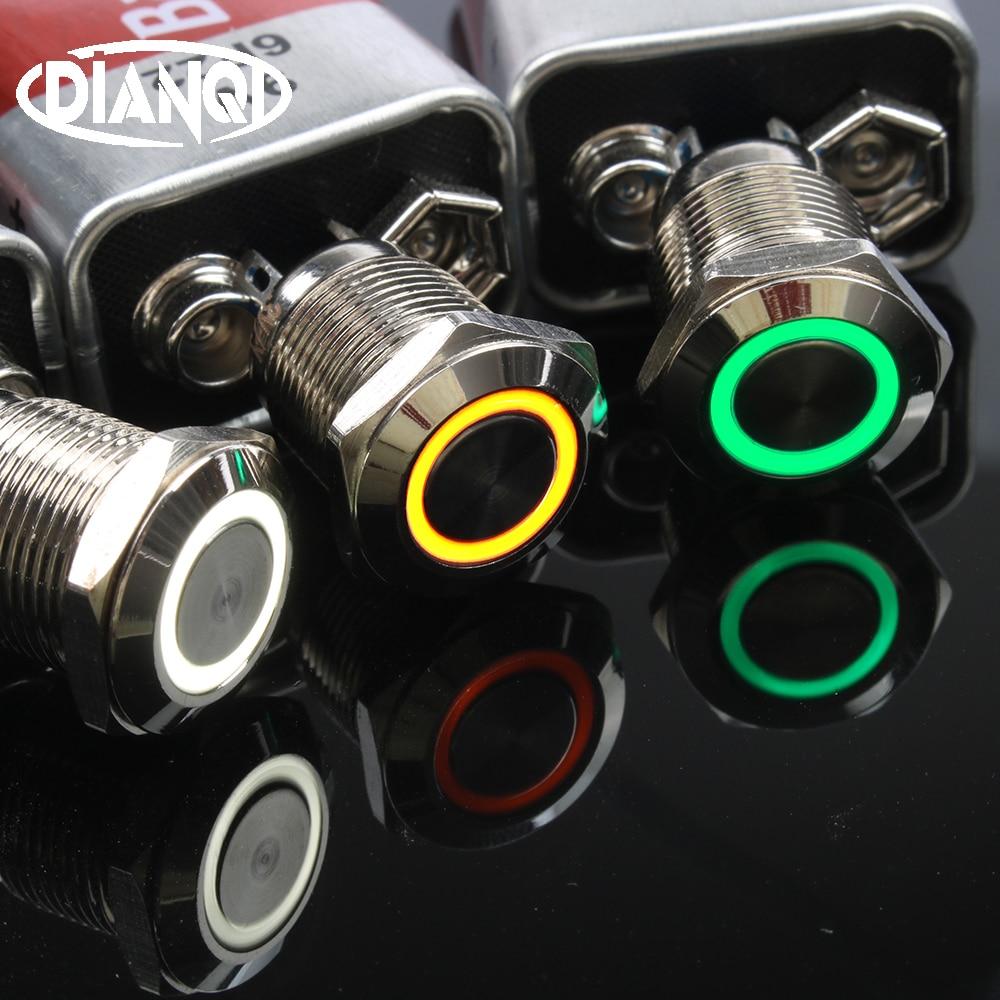 50pcs 12mm Waterproof nickel plated brass Metal Push Button Switch ring Momentary Latching self reset 1NO Car press button 12HX