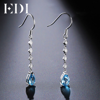 EDI 5 8mm Natural Swiss Blue Topaz 925 Sterling Silver Jewelry 18K White Gold Plated Zircon