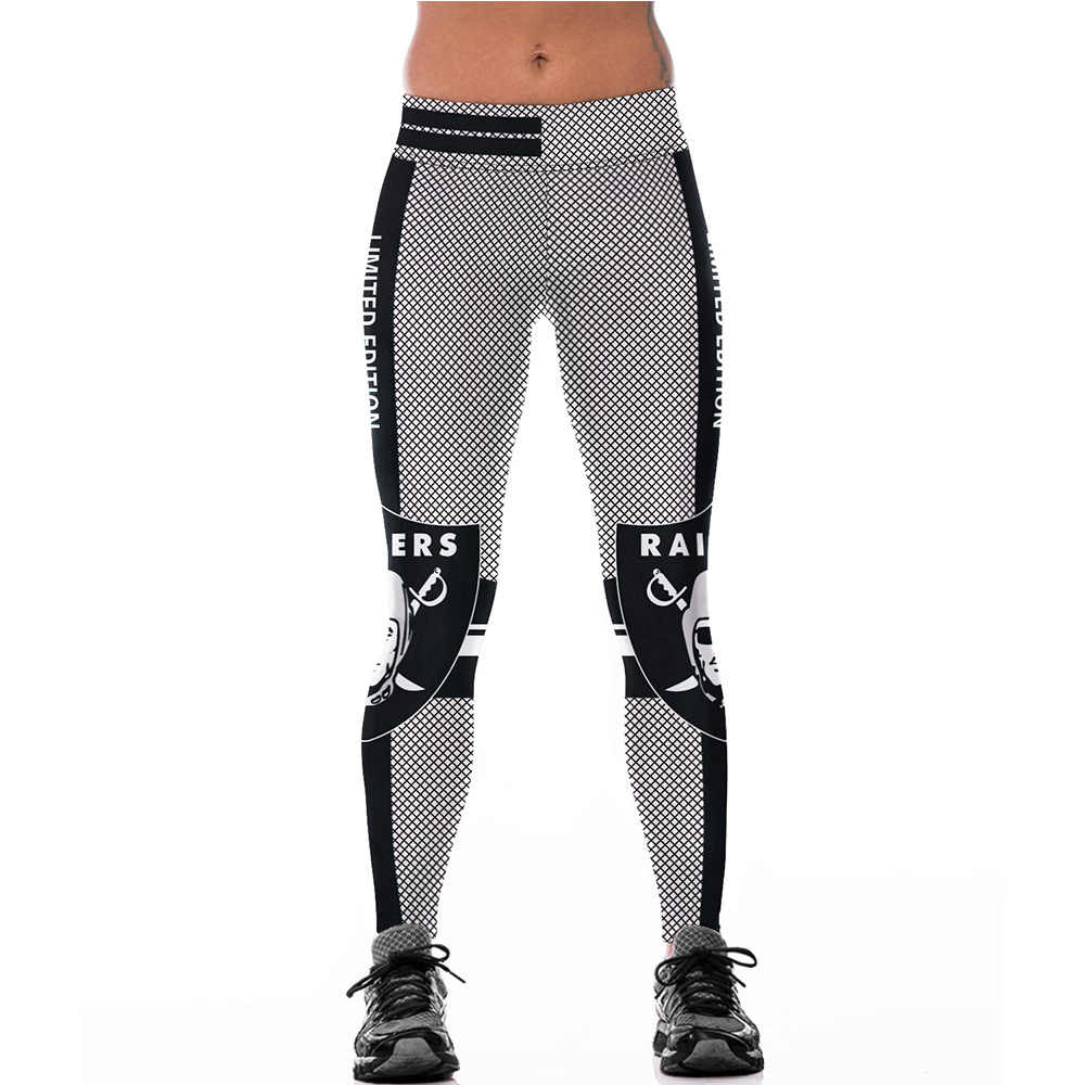 7f657f616fefd Oakland Raiders Logo Fitness Leggings Elastic Fiber Hiphop Party  Cheerleader Rooter Pants Workout Team Trousers Dropshipping