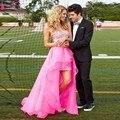 Vestidos de Baile de cristal Curto Frente Longa Voltar Moda Bling Bling Prom Vestidos Rosa Azul Lavanda Hi-Lo Praia Da Noite Vestido do baile de finalistas