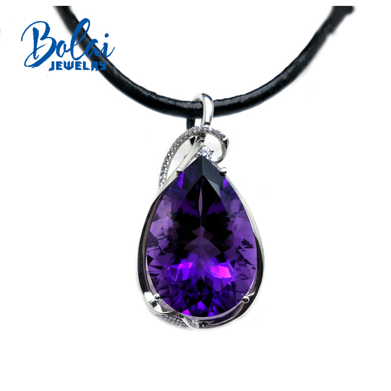 Bolaijewelry,100%Natural Big Gemstone Amethyst Pear 20.29*29.56mm Pendant In 925 Sterling Silver Fine Jewelry For Lady Best Gift