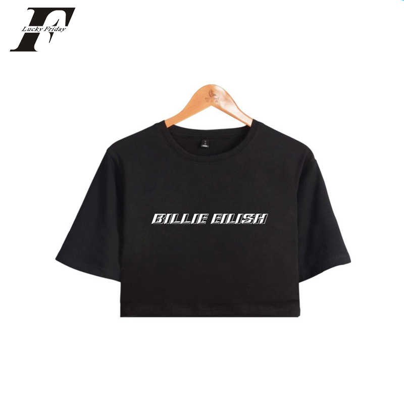 Billie Eilish 2019 Prin Tops Crops t shirt women Summer Shorts T-shirt Women Sexy Clothes  hit hop Casual Harajuku