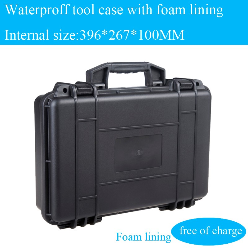 Waterdichte gereedschapskoffer gereedschapskoffer Camerakoffer Instrumentendoos koffer Slagvast afgedicht met voorgesneden schuim 425x325x118MM