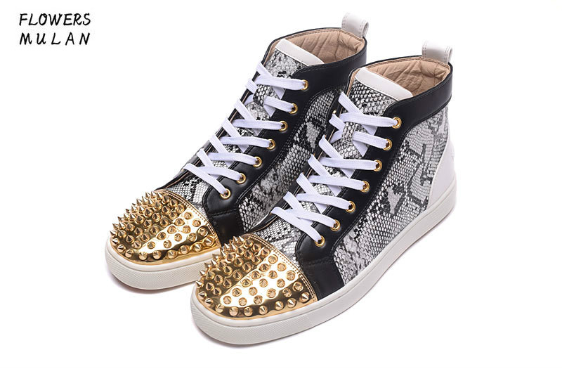 Hot Unisex Golden Rivets Red High Top Sole Sneakskin Leather Mens Casual Shoes Studded Fashion Lace Up Luxury Designer Shoes Men