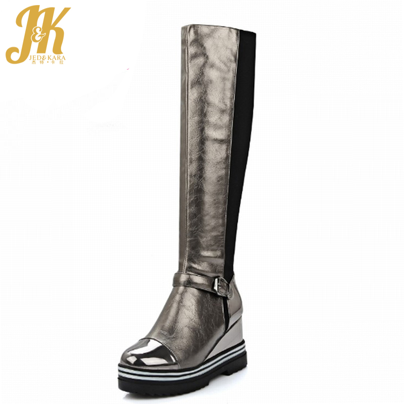 ФОТО Plus Size 34-43 Casual Wedges Platform Knee High Boots Fashion Mixed Colors Buckle Charm Female Knight Boots Fall Winter Boots