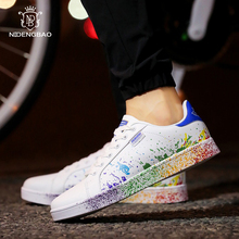 Big Plus Size 35- 45 46 Lovers Casual Board Shoes Men 2019 Fashion Colorful ink jet Footwear Good Match White Student