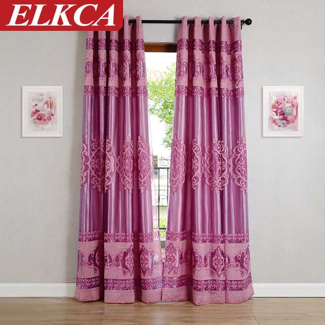 Purple Tulle Curtains For The Bedroom Kitchen Curtains For Living Room  Window Voile Curtains European Luxury