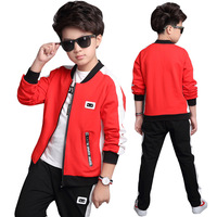 Children's wear boys autumn sports suit Terry cloth fashion sportswear boys jacket coats and pants 2pc Clothing sets