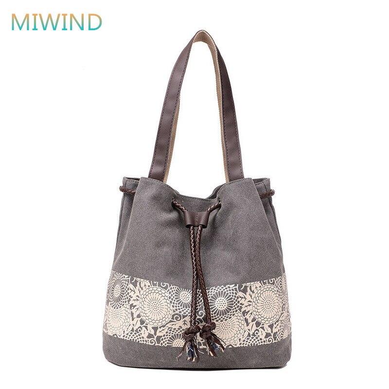 Shoulder Bags National Printing Canvas Handbags Large Shopping Bag Bolsa Feminina CB292