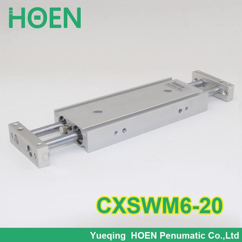 High Quality CXSW series CXSWM6-20 6mm bore 20mm stroke dual rod cylinder slide bearing double rod pneumatic cylinder CXSW6-20 cxsm10 10 cxsm10 20 cxsm10 25 smc dual rod cylinder basic type pneumatic component air tools cxsm series lots of stock