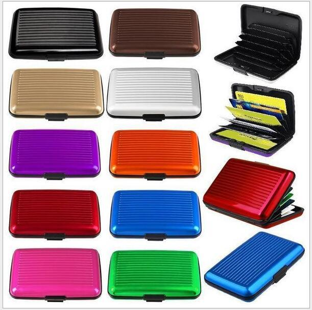 2 piece Business ID Credit Card Holder Wallet Pocket Case Aluminum Metal Shiny Side Anti RFID scan Cover Hot