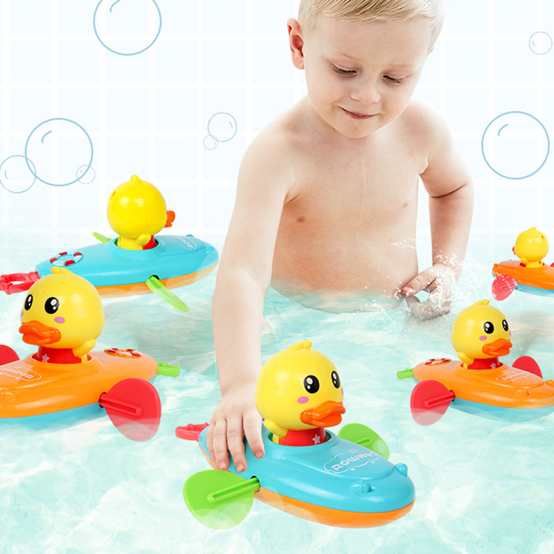 Summer New Baby Bath Toy Rowing Boat Duck Swim Bath Floating Water Wound-up Chain Baby Children Classic Toys Gifts Random Color