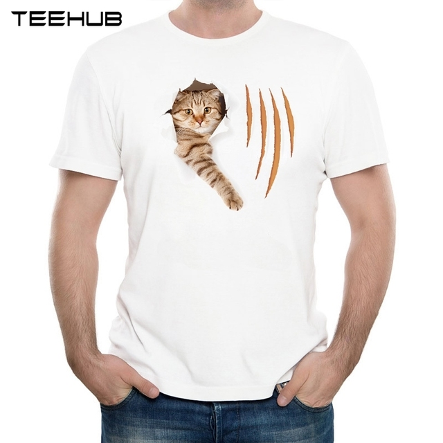 Perfect 2017 Menu0027s New Fashion Funny Cat In Torn Wallpaper Hole With Claw Cuts  Printed Short Sleeve