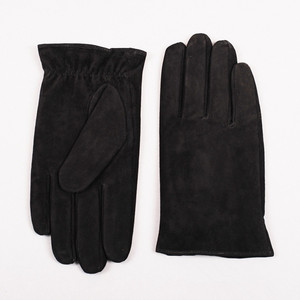 Image 2 - Gours New Winter Long Genuine Leather Gloves Men Suede Black Warm Touch Screen Gloves Brand Goatskin Mittens Luvas GSM023