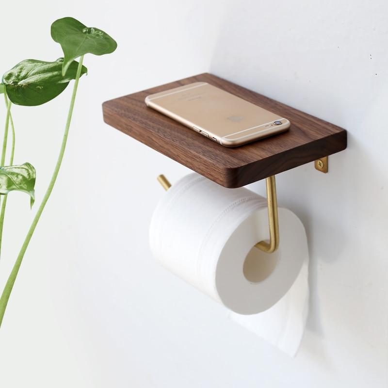 Nordic Luxury Paper Towel Rack Wooden Tissue Paper Storage Holder Toilet Roll Paper Holder Bathroom Organizer Tools Wall Decor
