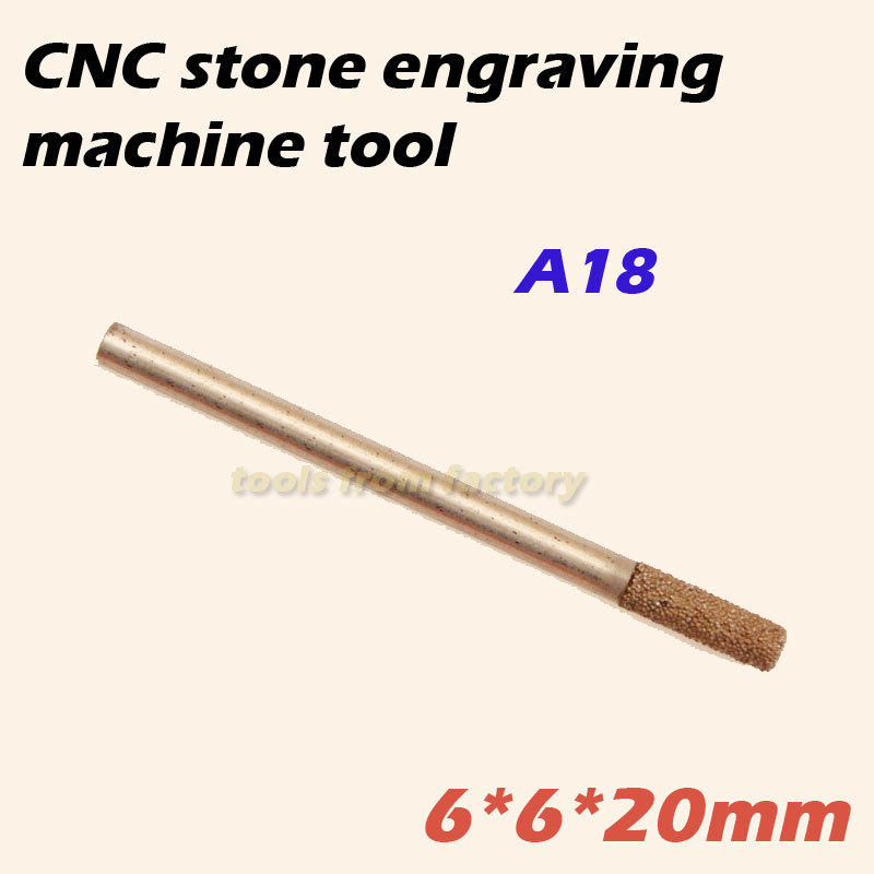 1pc 6*6*20mm cnc router diamond stone carving tool stone engraving machine cutter stone cutting bits A18  цены