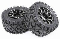 BAJA 5B All Terrain Front/Rear Terrian Tyres Set with Metal Wheel Hubs for 1/5 KM HPI Rovan 5B 5T 5SC RC Car Parts