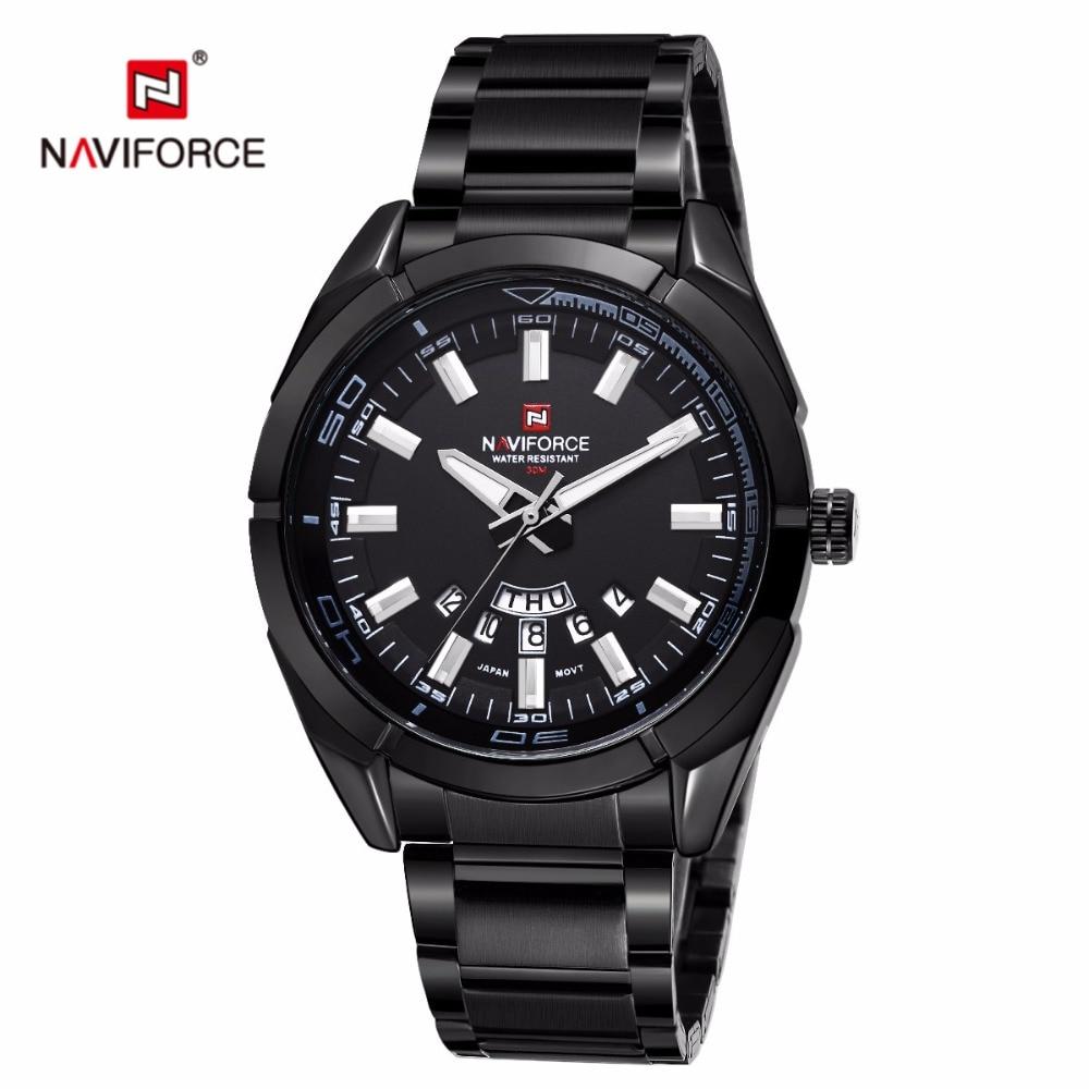 Naviforce Watch Men's Erkek Kol Saati Auto Date Clock Men Stainless Steel Montre Homme relogio masculino Casual Sports Watch