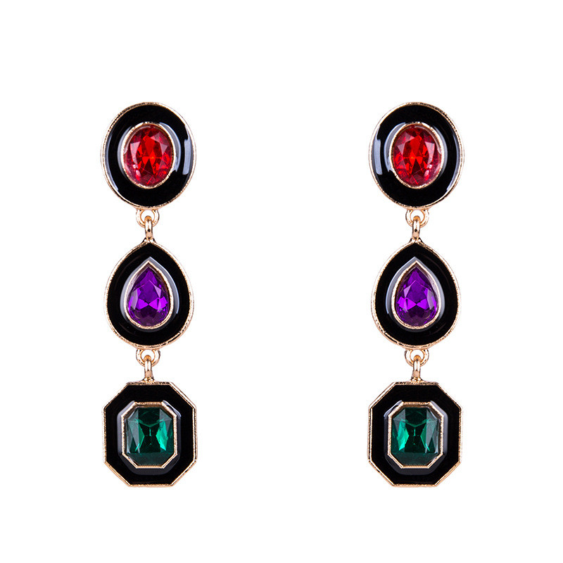 Drop Earrings Brincos Vinage Ethnic Fashion Bijoux Joyas Crystal Ornament Water Drop Geometric Shaped Pendant Feminino Earring
