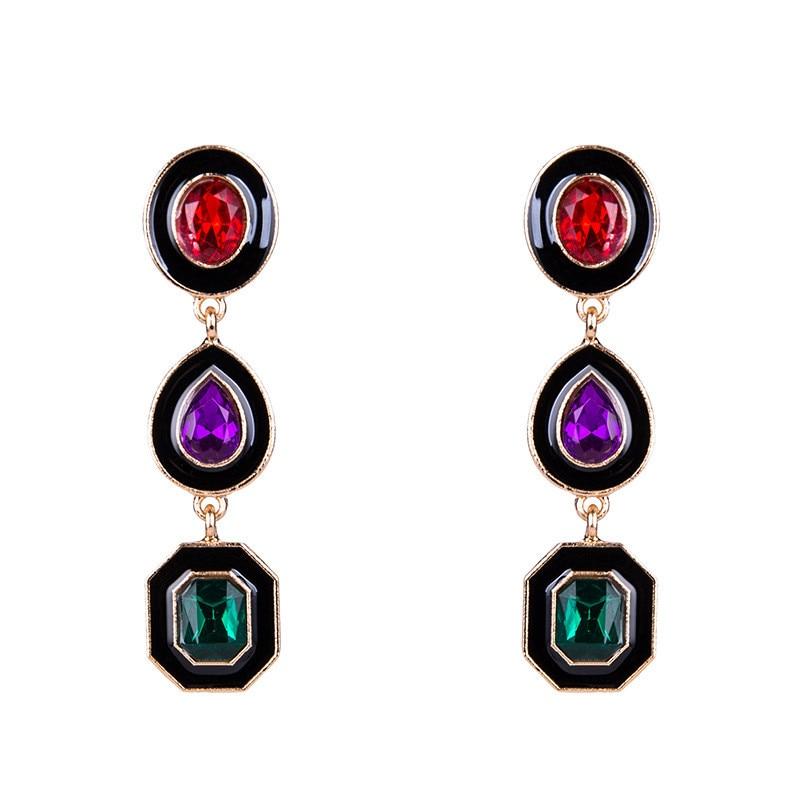 Drop Earrings Brincos Vinage Ethnic Fashion Bijoux Joyas Crystal Ornament Water Drop Geometric Shaped Pendant Feminino Earring