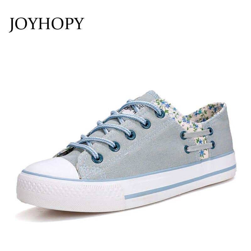 Peu Rétro Toile Fleur Lacent Blue Dames Casual Étudiants Chaussures Awf0090 Joyhopy Été Blue light Femme Printemps Top Denim Appartements Profonde xfACtw
