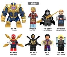 цена на X0186 LegoINGly Marvel Ant Avengers Captain Super Hero Iron Man Hulk Black Panther Man Wasp Building Blocks Toy For Children Set