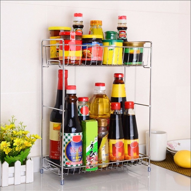 Universal Double Layers Stainless Steel Shelf Rack Kitchen Spice ...