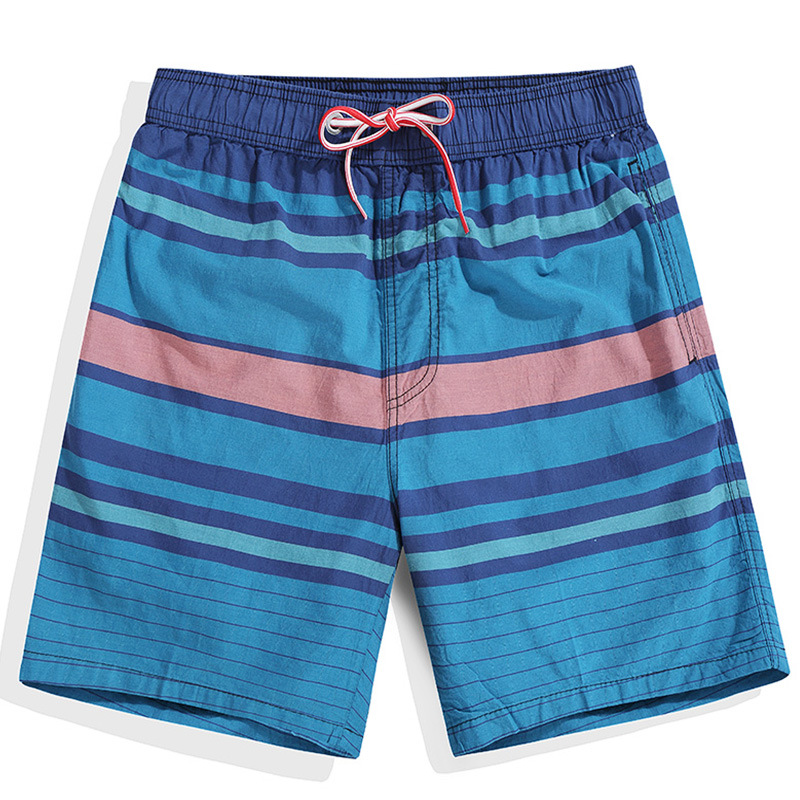 2018 Surf   Board   Striped Beach   Shorts   Men Swim Bathing Suit Trunks Drawstring Swimwear Quick Dry Swimsuit Sportswear Sports Pants